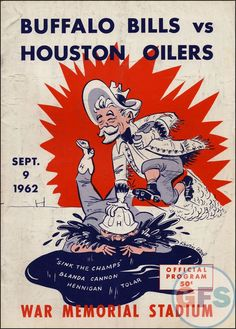 Vintage AFL game program from Bills vs. Oilers at War Memorial Stadium. Houston Football, First Football Game, Texans Football, Houston Oilers, Football Program, Houston Nfl, School Football, Denver Broncos, Football Season