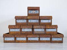 vintage industrial rusty metal drawers, total of 13 on Etsy, $25.00 AUD