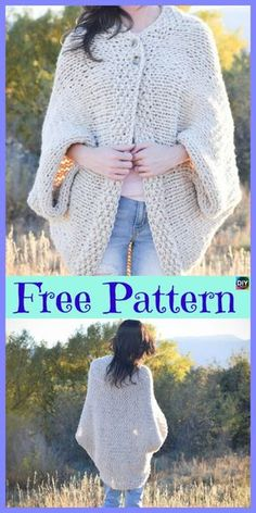 91babe65a4d084 10 Beautiful Knit Blanket Sweater Free Patterns
