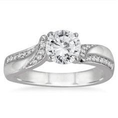 1.12ct D/VVS1 Round Diamond 14k White Gold Solitaire With Accents Ring #Jewelsbyeanda