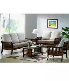 Living Room Wooden Sofa Set.