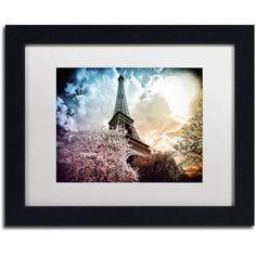 Trademark Fine Art Eiffel Tower Color Canvas Art by Philippe Hugonnard, White Matte, Black Frame, Size: 16 x 20, Orange