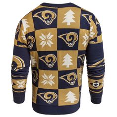 Los Angeles LA Rams Forever Collectibles Navy   Gold Knit Patches Ugly  Sweater cf71f719c