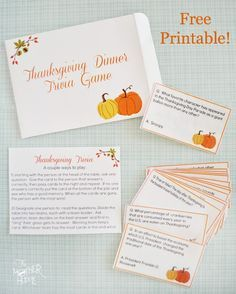 Free Printable Thanksgiving Trivia - fun dinner game to get the conversation going! Includes 32 cards, instruction card, and a cute envelope to put it all in. Would be great as a hostess gift too! #thanksgiving