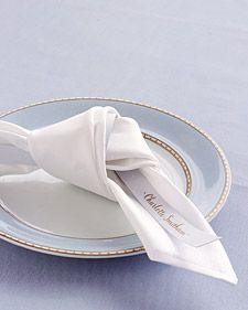 Clever Places for Place Cards: Napkin Knot - Martha Stewart Weddings Inspiration #celebstylewed #bridal #nuptials