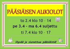 Aukioloaikamme pääsiäisenä 2015 Toivotamme asiakkaillemme hyvää pääsiäistä! https://www.facebook.com/ToppilaCenter