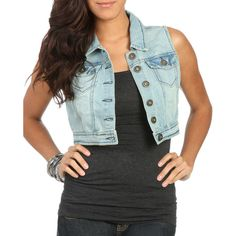 Boyfriend Denim Vest ($23) ❤ liked on Polyvore