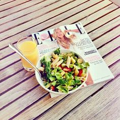 magazines over some healthy lunch