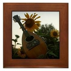 Mandolin (Mandola) and Sun Flowers Framed Tile ($9.99)