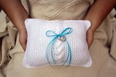 Knitted Wedding Ring Pillow in Simple White  Made by TalesofKnitty, $28.00