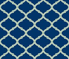 Lily Trellis in Preppy Apple Green and Navy  wallpaper - willowlanetextiles - Spoonflower