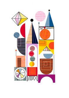 UNIDAD, edificios abstractos, Ellen Giggenbach impresión