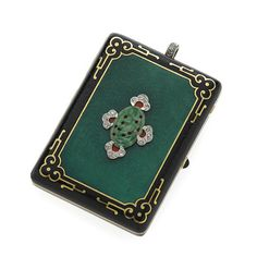 Art Deco enamel, diamond and jade compact