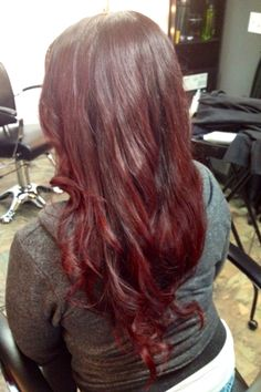 6b51878cc8a7 Dimensional color transitions from dark brown red to medium cool red. Color  by Gina Rodriguez of Emerald City Hair in Citrus Heights