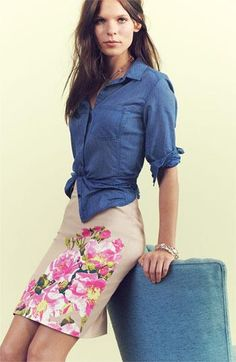 Casual work style: Chambray button-up & floral skirt