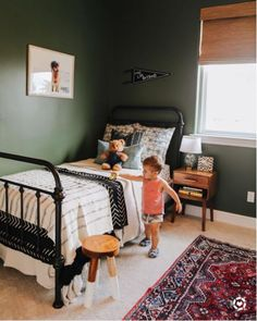Toddler Room, Iron Bed, Dark Green Walls, Big Boy Room, Boy images ideas from Best Room Ideas Green Bedroom Walls, Dark Green Walls, Dark Walls, White Bedroom, White Walls, Big Boy Bedrooms, Kids Bedroom, Bedroom Ideas, Bedroom Decor