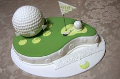 Birthday Golf Cake My best friends husbands birthday cake. What a challenge for me as this was my first time doing this. Made a mud. Birthday Cake For Husband, Birthday Cake Pops, 40th Birthday, Birthday Ideas, Fondant Cakes, Cupcake Cakes, Cupcakes, Golf Course Cake, Fantasy Cake