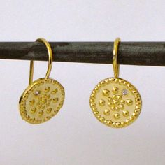 18K Gold Ethnic Earrings & Diamond di AmorGoldsmith su Etsy