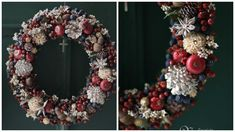 Christmas wreath berries and nuts Christmas Door Wreaths, Christmas Door Decorations, Christmas Arrangements, Christmas Swags, Holiday Centerpieces, Holiday Wreaths, Merry Christmas To You, Christmas Time, Christmas Crafts