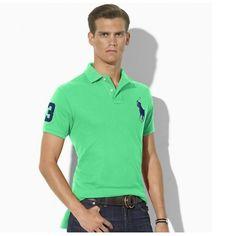 Ralph Lauren Blue Polo Logo Breathable Green Short Sleeved  http://www.ralph-laurenoutlet.com/