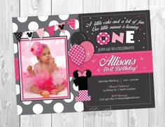 Minnie Mouse Birthday Invitation, Minnie Mouse Inspired Invitation, Minnie Mouse Birthday Party,  Minnie First Birthday Party by YourMainEventPrints on Etsy https://www.etsy.com/listing/217902986/minnie-mouse-birthday-invitation-minnie