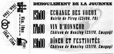 Ticket d'invitation, glissé dans la pochette, réalisée sur la page de gauche des livres
