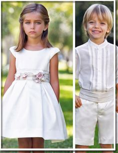 Simple white dress with floral belt accent goes well with neutrals of no tie and pleated cummerbund. Flower Girls, Flower Girl Dresses, Fashion Kids, Fashion Outfits, Kids Bridesmaid Dress, Simple White Dress, Angel Dress, First Communion Dresses, Kind Mode