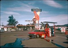 1966 view of the sign for the Escondido Bowl flanked by a couple of gas stations, with an attractive 1962 Ford Galaxie in the foreground (and the taillight of a Galaxie just peeking out of the right edge). My copy of this photo came from the. Old Gas Pumps, Vintage Gas Pumps, Pictures Of Gases, Radios, Pin Up Girls, Monaco, Pinup, Pompe A Essence, Biker