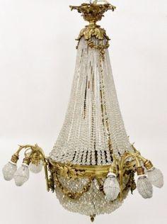 French Empire Gilt Bronze Basket Chandelier : Lot 716