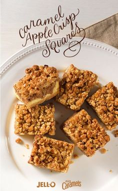 Apples, caramel and holiday cheer make Caramel Apple Crisp Squares a delicious dessert for your next seasonal get-together. Before preparing, gather some JELL-O Vanilla Flavor Instant Pudding, KRAFT Caramels, cream cheese and a couple of Granny Smith apples, along with a few other baking sundries. Repin and be on your way to this chewy, crispy, caramel apple treat!