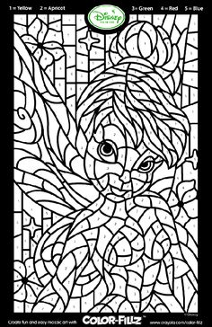 disney fairies tinkerbell mosaic coloring page cadwalader peacoe maybe for cooper since he loves tinkerbell he could work on matching the numbers and