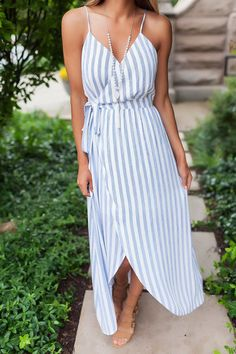 Blue/Ivory Multi Stripe Wrap Dress