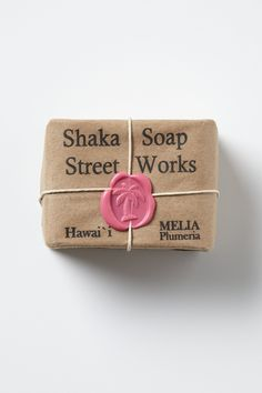 very cute packaging, wax seal, soap, kraft paper, twine