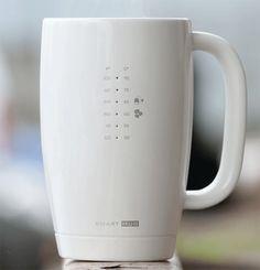 The Smart Mug displays the current liquid temperature via a series of LED lights. Designer: Evita Krumina, Kickstarter | via Yanko Design