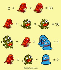 Brain teaser - Number And Math Puzzle - hard math riddle - Three monsters in different colors - one hard math riddle for your brain skills. If you solve this, please comment; Brain Teasers Pictures, Brain Teasers With Answers, Logic Math, Math Jokes, Algebra Activities, Maths Puzzles, Math For Kids, Fun Math, Simple Math