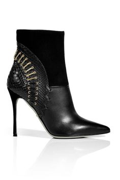 Sergio Rossi Leather and Suede Ankle Boots, $1,510; stylebop.com   - ELLE.com