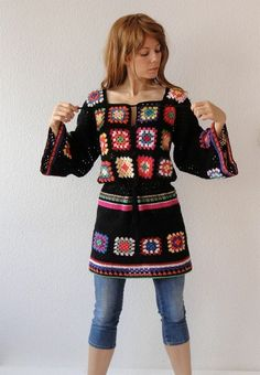 Crochet granny square dress tunic hippie jumper sweater cardigan patchwork retro glamour - flower power vintage look - handmade crochet design - made to order Point Granny Au Crochet, Crochet Squares, Granny Squares, Fabric Squares, Beau Crochet, Pull Crochet, Knit Crochet, Crochet Cardigan, Hand Crochet