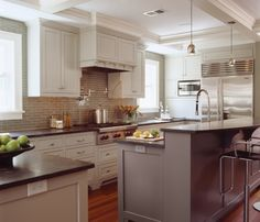 "white cabinets with soapstone and Ben Moore ""Stone Harbor"" island..."