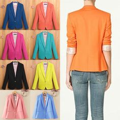 New Womens Long Sleeve Business Formal One Button Blazer Casual Jacket Suit Coat #Unbranded #Trench