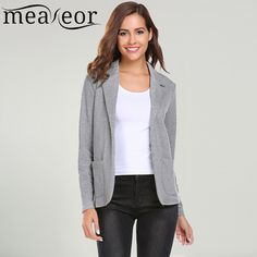 $39.58 - Cool Meaneor Women's Autumn Slim Fit Blazers Welt Pockets Jackets Plus Size 3XL XXXL Solid Long Sleeve Formal Office Blazer Jacket - Buy it Now!