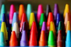 Rainbow of crayons in bright colors!  roygbiv