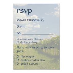 Outdoor Wedding Rehearsal Dinner Invitations Wine Vineyard Wedding Reception RSVP Response Card