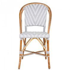 Grey & White Mediterranean Bistro Round Back Chair (Chevron)