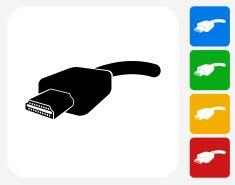 HDMI Cable Icon Flat Graphic Design vector art illustration