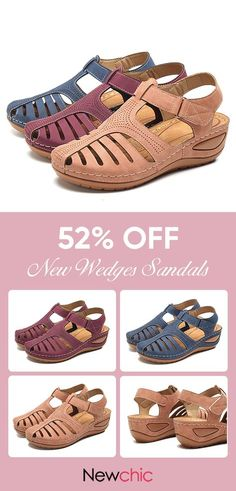 cb499c781397 【52% off】LOSTISY Hollow Out Pure Color Breathable Hook Loop Wedges Sandals.