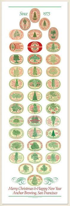 Through the years --> Anchor Steam Christmas beer labels Anchor Brewing, Christmas Ale, Beer Label Design, Beer Packaging, Best Beer, Beer Lovers, Holiday Gift Guide, Home Brewing, Root Beer