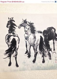 60% Sale XU BEIHONG (Chinese, 1895–1953): Four Horses, Ink and Color on Bark Paper