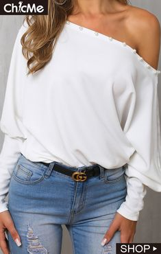 Shop Blouses & Shirts Solid Beaded One Shoulder Casual Blouse Hip Hop Mode, Women's Navy Shirt, Casual Outfits, Fashion Outfits, Womens Fashion, Fashion Styles, Mode Jeans, Vetement Fashion, Looks Plus Size
