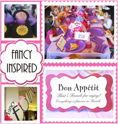 "A Fancy Nancy Inspired Affair  - cupcake toppers with French phrases and tulle  - Each girl got a little black favor purse filled with a mini nail polish and stick on earrings. I blinged out the handbags with tulle, stick on jewels, and a label that said Merci Beau coup.   - We blinged out the water bottles with glitz ribbon and stick on jewels telling the girls it was fresh spring water  - Ring pops were used as napkin rings!  - Oversized place cards for each girl with ""fancy"" by their name."