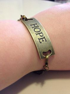 Inspiring Hope Stamped Metal Plate Bracelet by originalsbyem Bangles, Bracelets, Metal Beads, Cartier Love Bracelet, Metal Stamping, Looks Great, Great Gifts, My Etsy Shop, Buy And Sell
